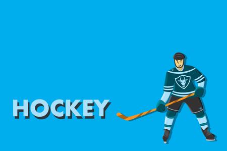 Hockey comic player. Cartoon character Illustration