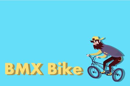 Stylish comic hipster on the bmx bike with beard on blue background. Cartoon man Illustration