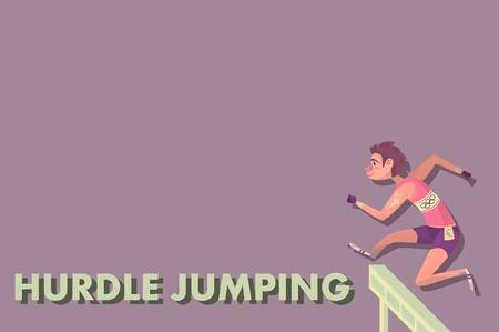 toughness: Comic hurdler sportsman. Cartoon Athletics Hurdle Jumping. Illustration