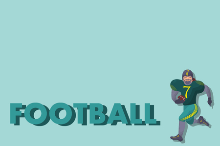 Comic american footbal player with ball in flat. Cartoon picture Illustration