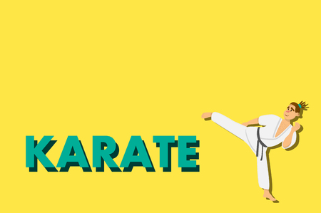 aikido: Cartoon karate man wearing kimono training. comic character on yellow background. Flat design Illustration