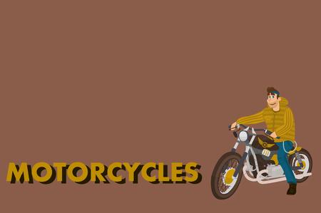 Cartoon motorcycle with driver. vintage stylish bike. flat design for logo Illustration