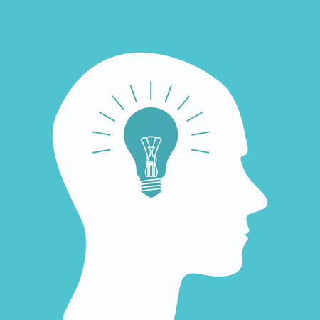 New bright idea form human head, thinking about success solution, lightbulb as creativity metaphor.