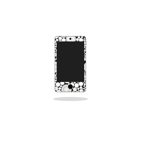 lcd display: Modern touchscreen cellphone smartphone isolated on background. vector