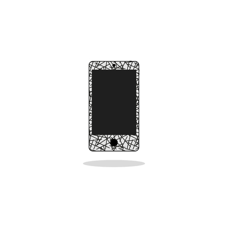 touch screen phone: Modern touchscreen cellphone smartphone isolated on background. vector