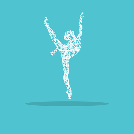 Silhouette of a dancing girl in a ballet