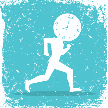 Runner with clock on the head Иллюстрация