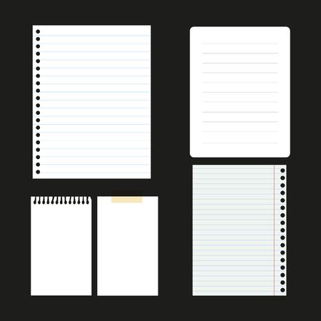 Set of paper sheets for web design vector illustration. Ilustração