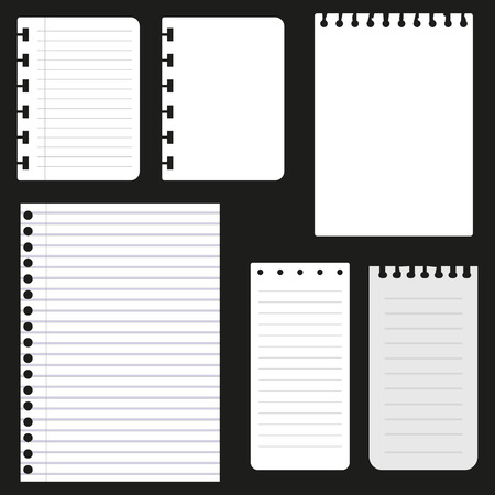 Set of paper sheets for web design vector illustration. Vettoriali