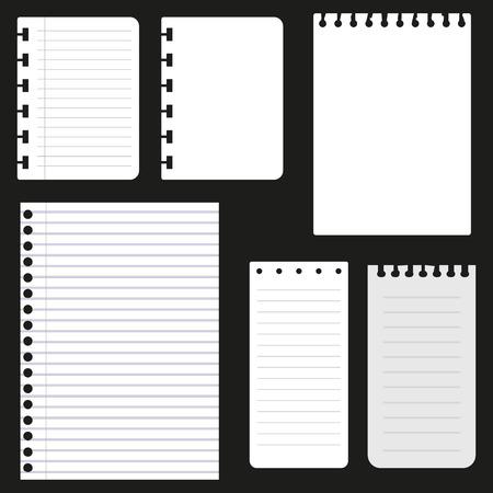 Set of paper sheets for web design vector illustration. Illustration