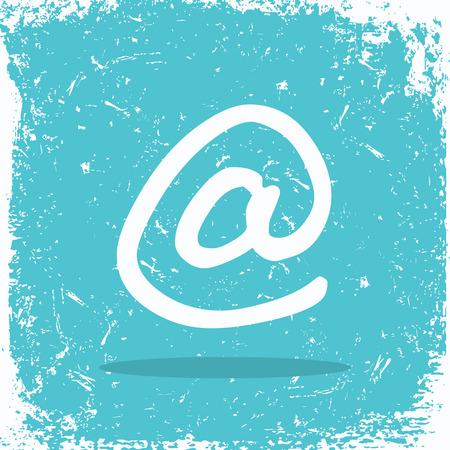 Email sign on grunge background vector illustration.