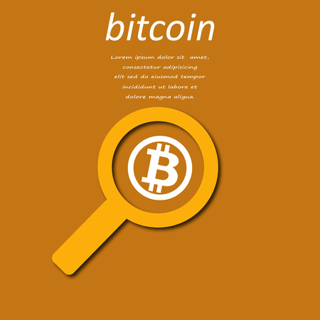 magnifying glass with bitcoin for web design