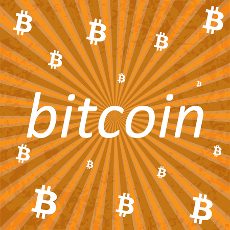 bitcoin network: Bitcoin Cripto currency blockchain. Bitcoin flat logo on orange background. Bitcoin vector sticker for web design Иллюстрация