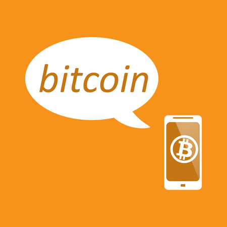Phone with bitcoin for web design Illustration