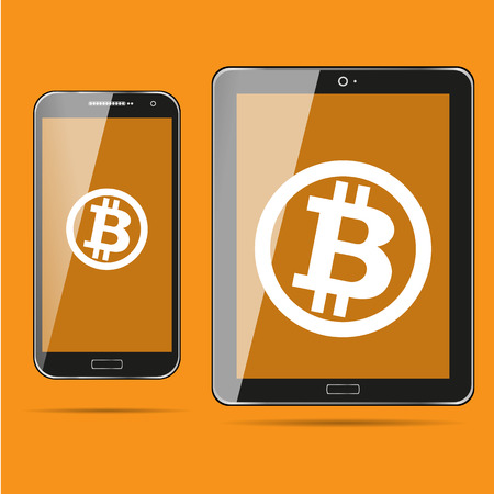 Bitcoin Cripto currency blockchain. Bitcoin flat logo on orange background on devices. laptop, tablet, phone.