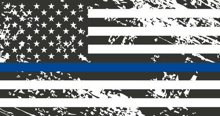 법 집행에 대한 지원을 상징하는 미국 국기. 경찰. 일러스트