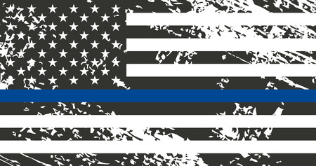 An American flag symbolic of support for law enforcement. police. Stok Fotoğraf - 86918449