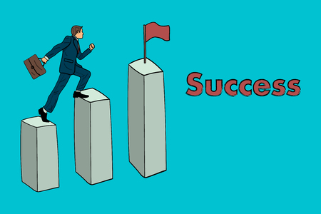 Businessman moves to success overcoming obstacles Illustration