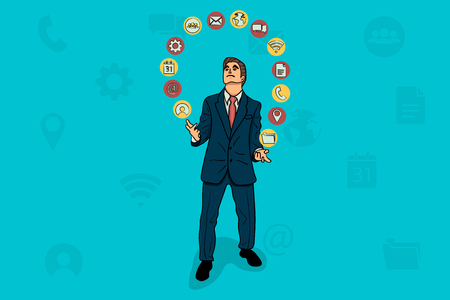 Businessman juggles with business icons. Illustration