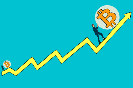 Businessman pushes bitcoin up the growth schedule. Growth bitcoin
