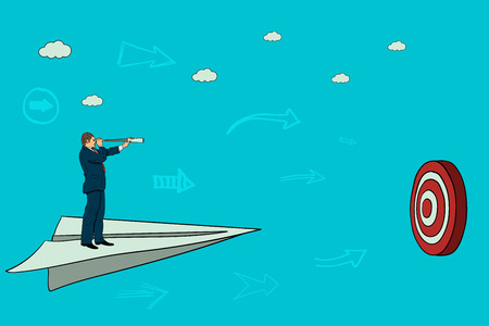Businessman flies on a paper airplane to the target. flight