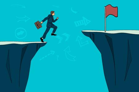 Businessman jumping over a precipice toward a goal