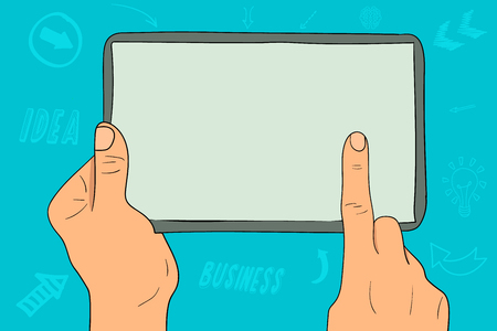 A tablet with an empty screen in the hands of a businesswoman