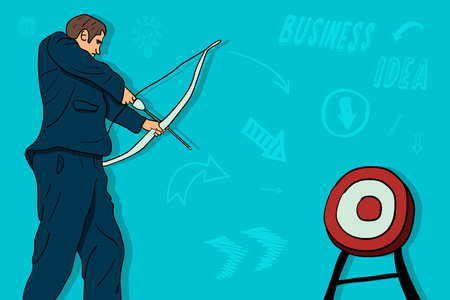 Businessman shoots a bow from a target