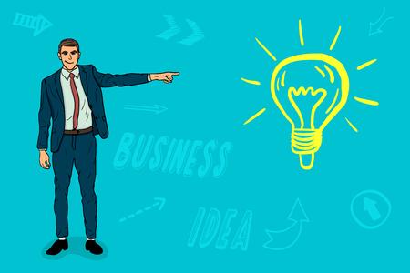 Businessman points a finger at a new business idea