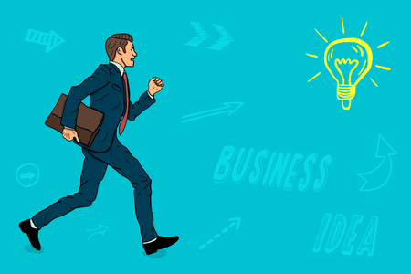 A businessman with a portfolio runs to the opening of a new business idea