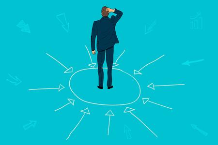 Concept of central management business. businessman think