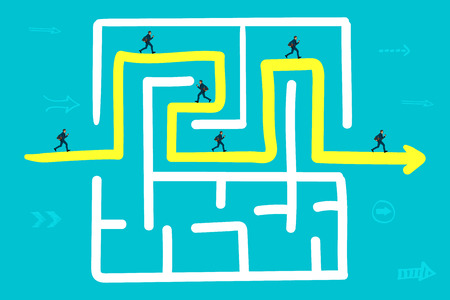 The businessman runs along the arrow to the exit from the labyrinth Illustration