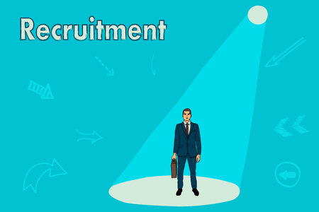 Recruitment for work. Businessman under the light of a searchlight