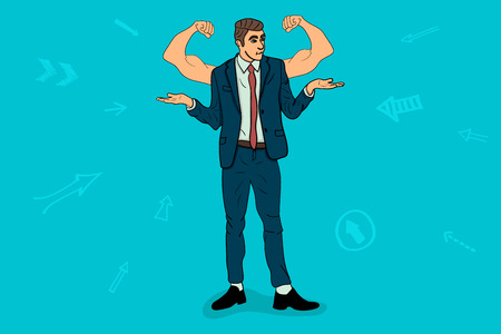 Businessman with muscles. up hands of the winner