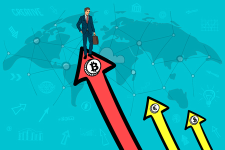 Businessman on the up arrow. bitcoin outscored the dollar and the euro