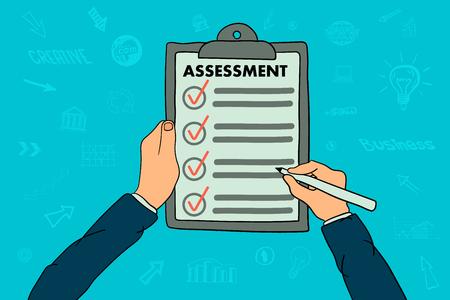 Businessman hands holding clipboard checklist with assessment Ilustração