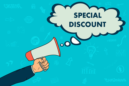 A businessmans hand holds a megaphone. in the conversation bubble the word special discount