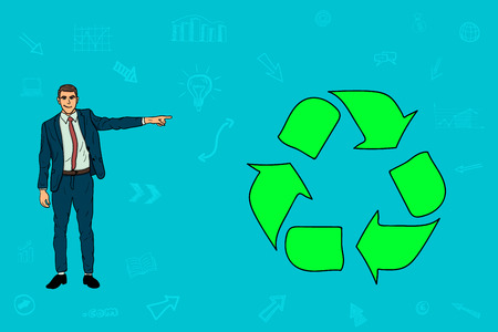 Businessman pointing his finger at the recycling sign. Illustration