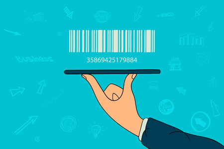 Barcode on businessman hand