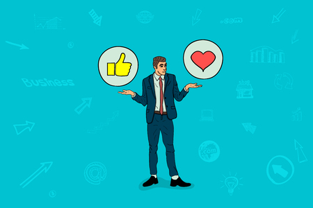 Businessman holds social media icons Illustration