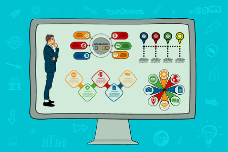 Businessman, worker  Infographics on the computer monitor Vector illustration.