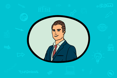 Businessman face in circle for vector icon illustration.