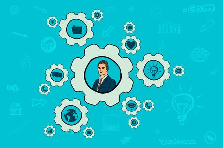 Business mechanism concept. businessman setting. idea illustration. Stock Illustratie