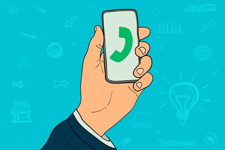 Phone calling in businessman hand vector illustration. Illustration