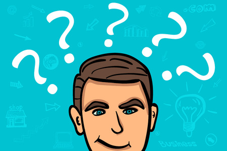Businessman confuse and thinking cartoon character illustration.