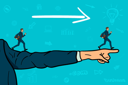 Businessman points with his finger direction. Businessman runs to goal. Illustration