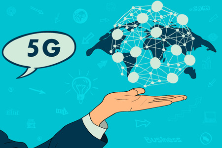 5G network wireless systems and internet of things with man touching. Abstract global with wireless communication network.