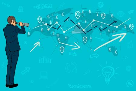 Businessman looking through a telescope on a world map Vector illustration. Illustration