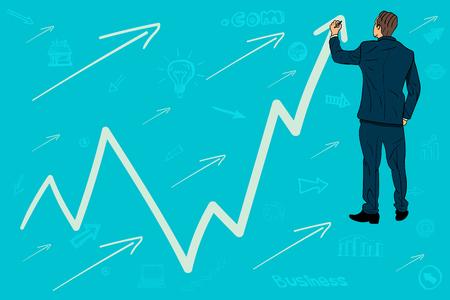 Businessman draws a graph, arrow up. growth Vector illustration. Illustration
