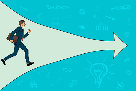 The businessman is running in the right direction. arrow pointing to the right Vector illustration. Illustration